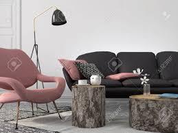 das stilvolle und moderne wohnzimmer in rosa und grauen farbe mit couchtischen stümpfen