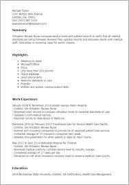 Resume Templates Utilization Review Nurse