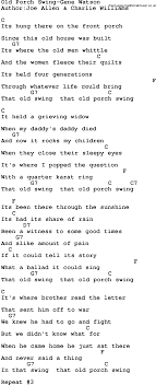Country Music Old Porch Swing Gene Watson Lyrics and Chords