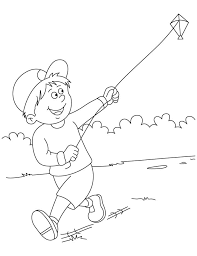 Raju Flying A Kite Coloring Pages Page Of 11