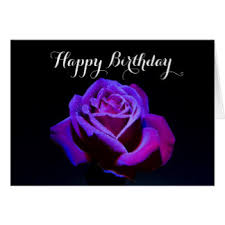 Purple Rose With Dew Droplets Happy Birthday Card