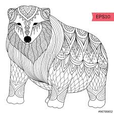 Hand Drawn Polar Bear Zentangle Style For Coloring Booktattoot Shirt Design