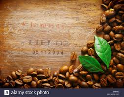 Coffee Bean Border On An Old Wood Surface With Stamped Numbers From A Shipment Of Beans Two Green Leaves