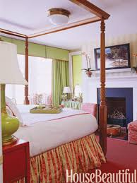 Master Bedroom Designs Green With Red Rug And Walls