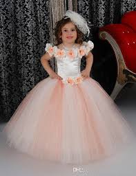 Lovely Puffy Pink Flower Girls Dresses For Wedding Satin Ruched