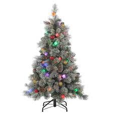 Pre Lit Flocked Hard Needle Pine Artificial Christmas Tree With