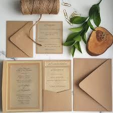 Rustic Wedding Invitations Gold Invites Pocket Fold Wood Insert Cards Glitter