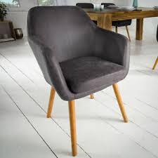 details zu design armlehnstuhl supreme vintage grau beine aus massivholz esszimmerstuhl