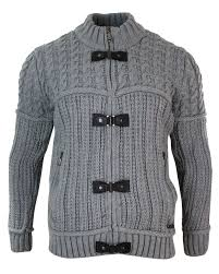 mens fitted zip toggle cardigan jumper knitted wool chunky warm