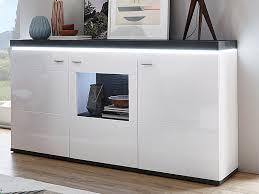 ideal möbel karajol sideboard type 51 moderne kommode für ihr wohnzimmer oder esszimmer mit 2 holztüren 1 glastür anrichte inklusive indirekte led