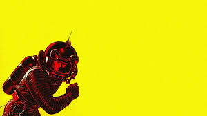 Illustration Minimalism Red Artwork Insect Yellow Science Fiction Astronaut Vintage Background Have Space Suit Will