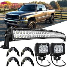 100 Truck Light Rack 52 Curved LED Offroad Bars Combo Upper Roof Mount For Dodge