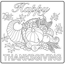 Harvest Cornucopia Drawing A Simple Coloring Page For Kids And Adults From Thanksgiving