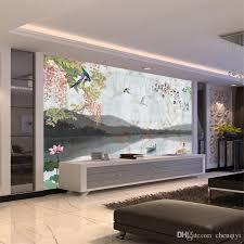 großhandel großes wandbild tv wohnzimmer sofa hintergrundbild chinesische blumen und vogeltapete vliestapete chenqiyi 7 64 auf de dhgate