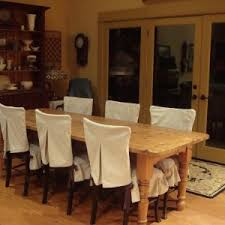 Rustic Dining Room Design With White Chair Covers Rectangular Table And