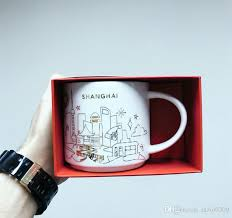 Authentic Starbucks YAH Shanghai City Mug Christmas Collection Vision 14oz Golden Outline Ceramics Coffee Cup Gift