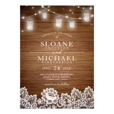 Rustic Wood Mason Jar String Lights Lace Wedding Card