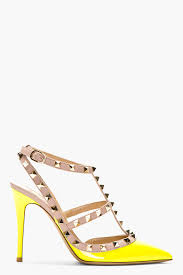 valentino neon yellow patent rockstud strapped heels in yellow lyst
