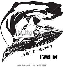 Vector black and white illustration of water scooter wave and shark isolated Jet ski