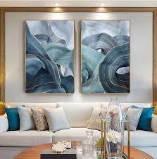 abstrakte silber leinwand malerei goldene blau poster druck moderne gemälde wand kunst bilder für wohnzimmer schlafzimmer wohnkultur