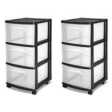 drawer storage cart wide 5 organizer cabinet box plastic black