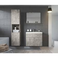 badezimmer badmöbel set montreal 60cm waschbecken beton grau unterschrank hochschrank waschtisch möbel