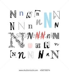 Set Letter N Different Style Collection Stock Vector