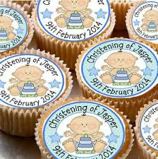 Image Is Loading 24 PERSONALISED CHRISTENING RICE PAPER CUP CAKE FAIRY