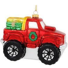 100 Red Monster Truck Glass Ornament Novelties