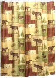 Cabin Shower Curtains A Design And Ideas Curtain Bear Rustic Brown Green Moose Canoe
