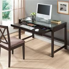 Walker Edison 3 Piece Contemporary Desk Multi by Ospdesigns Glass Top And Espresso Base Desk Tri2542g The Home Depot