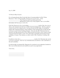 Sample Teacher Recommendation Letter For Graduation School Of From