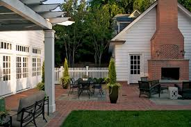 outdoor brick fireplace Patio Traditional with brick brick