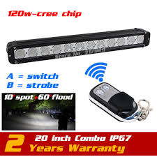 20'' 120W LED Light Bar Wireless Remote With Strobe Light For Truck ...