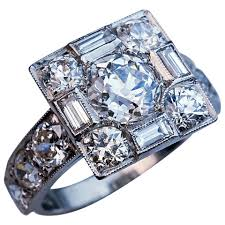 deco square rings deco platinum cluster engagement ring for sale at 1stdibs