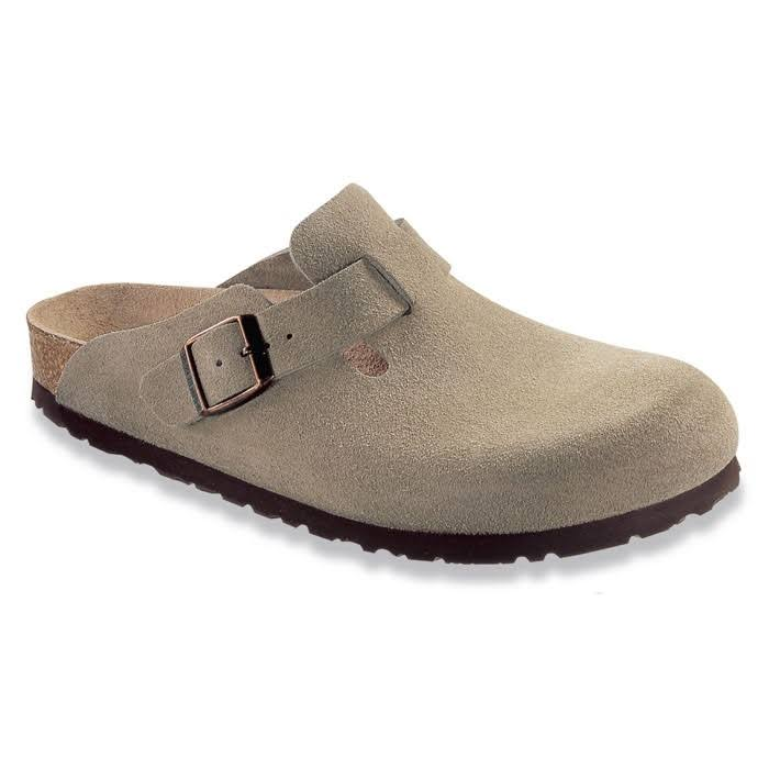 Birkenstock Unisex Boston Soft Footbed Leather Clog - Taupe Suede, 43 EU