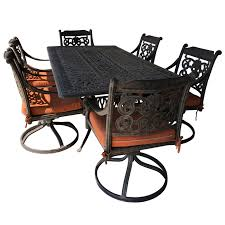Let's Have A Party Large Cast Aluminum Patio Dining Table And 6 ... Standard Fniture Rossmore 7 Piece Rectangular Ding Set Dunk Maison Ranges Room Just Imagine The Beautiful Dinner Parties You Could Throw With This China White Nordic Event Party Table Tms Lucca 5 Multiple Colors Walmartcom 50 Outdoor Ideas You Should Try Out This Summer Tables And Chairs For Sale Wooden Buy Aspenhome New Year Christmas Style Chair Cover Decoration 2017 Bay Isle Home Solange Reviews Wayfair 5pcs Metal 4 Breakfast Black Dinner Mistana Thomasson