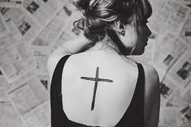 Simple Yet Striking Back Tattoo Of The Cross Symbol Faith