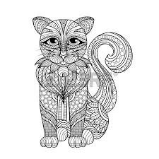 Drawing Cat For Coloring Page Shirt Design Effect Tattoo And Decoration Stock