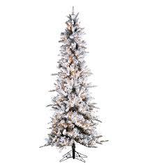 Slim Flocked Pencil Pine Artificial Christmas Trees