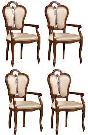 casa padrino luxus barock esszimmer set braun weiß beige 57 x 43 x h 105 cm 4 esszimmerstühle mit armlehnen esszimmermöbel im barockstil