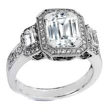 Engagement Ring Vintage Style Three Stone Emerald Cut Diamond In 14K White