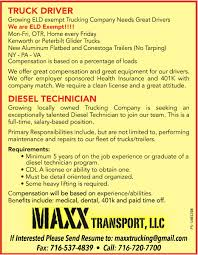 Truck Driver & Diesel Technician, Maxx Transport, LLC., Holland, NY Trucking Holland Meet Wilson Logistics And Get Paid Cdl Traing In Missouri Company Trackstar Vehicle Railroad Track Testing About Truck Driver Receives Intertional Exllence Award Home Special Delivery Usf Express Estes Trucks Truckdriverworldwide Jobs Forklift Job Description For Resume Forklift Operator Job
