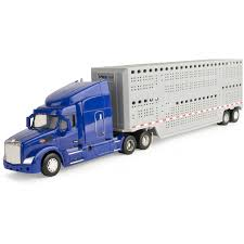 100 Toy Grain Trucks ERTL Big Farm 132 Peterbilt Model 579 Semi With Livestock Trailer