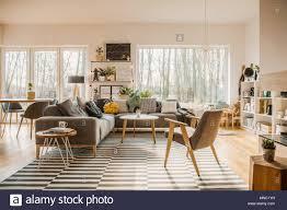grau holzmöbel in einem geräumigen wohnzimmer einrichtung