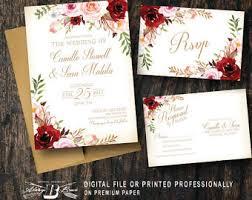 Red Blush Floral Wedding Invitation SET