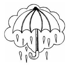Printable Umbrella In Rain Coloring Pages