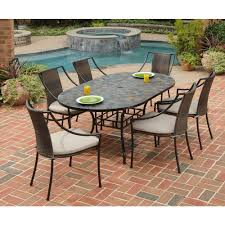 Home Depot Outdoor Dining Chair Cushions by Home Styles Stone Harbor 7 Piece Oval Patio Dining Set With Taupe