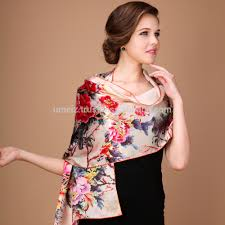 custom digital printed long colorful chinese twill silk scarf for