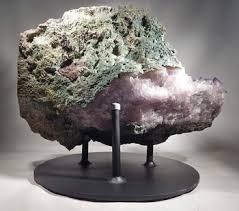 Amythest Crystal Geode Cluster Custom Display Stand Back